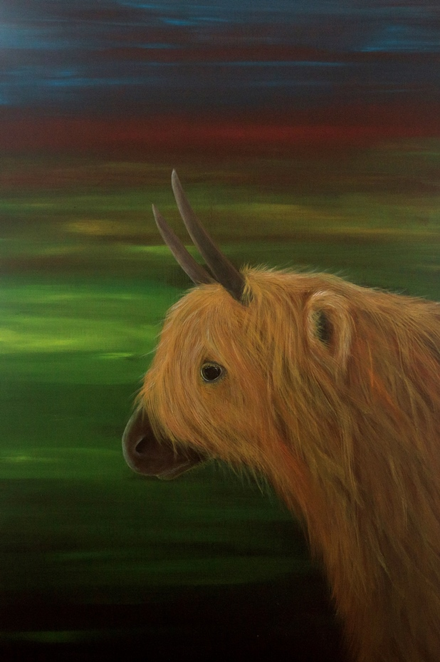 Highland Cow and northern lights painting