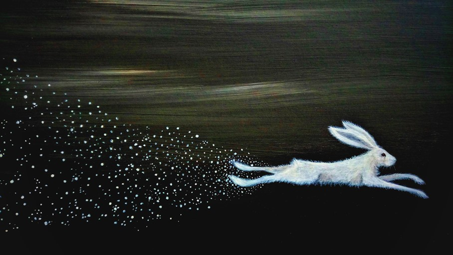 Starflight - white hare and stars painting