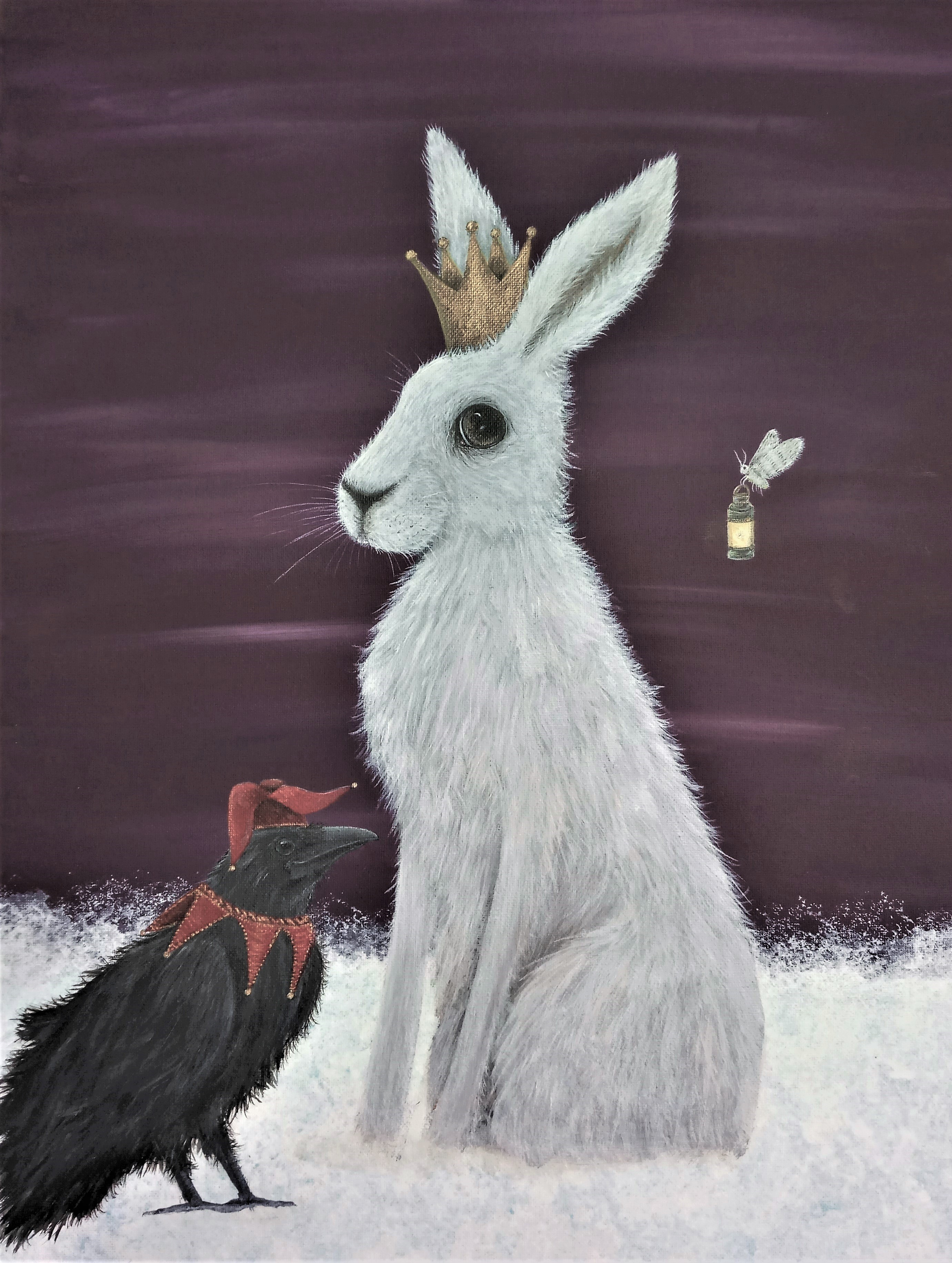 The Winter Queen - Snow Hare, Jester Raven and Winter Moth painting